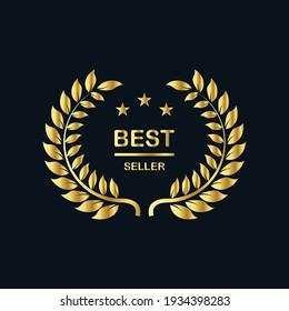 Best seller badge logo design. Best seller golden vector isolated