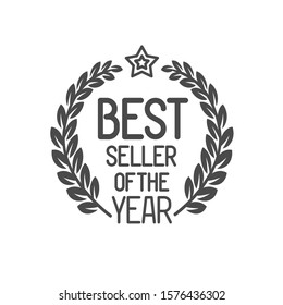 Best seller badge with stars and laurel leaves branches. Best product logo. Shopping rating symbol.