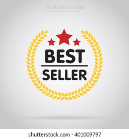 Best seller badge. Best seller vector isolated. Badge in flat design style. Isolated badge. Retail badge. Best seller tag. Advertisement symbol. Best seller icon. Best seller logo. Best seller stamp.