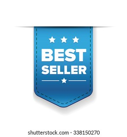 Best Seller blue ribbon vector