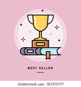 Best seller book, flat design thin line banner, usage for e-mail newsletter, web banners, headers, blog posts, print and more