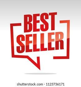 Best seller in brackets speech red white isolated sticker icon