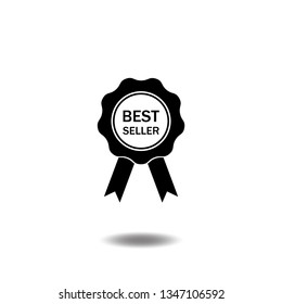 Best seller or Certification seal award icon vector.Warranty ribbon badge, quality guarantee flat sign symbols logo illustration isolated on white background black color.Concept design business.