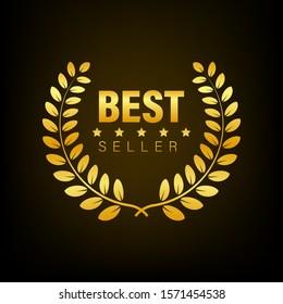 Best Seller Gold sign with laurel. Vector stock illustration.