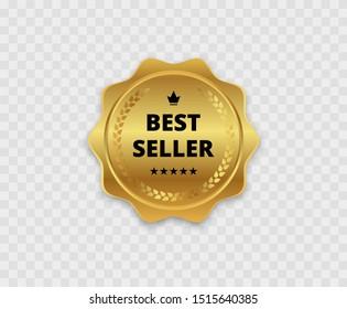 Best seller. Golden badge. Isolated. Vector