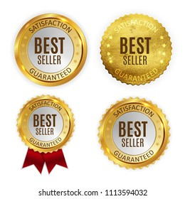 Best Seller Golden Shiny Label Sign Collection Set. Vector Illustration EPS10