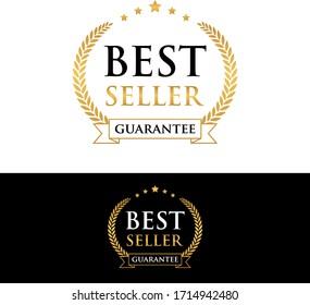 best seller guarantee golden badge and label vector