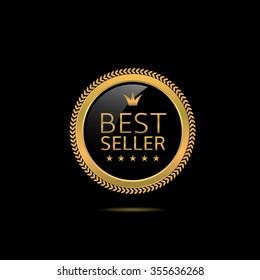 Best seller label. Golden award badge, Vector illustration