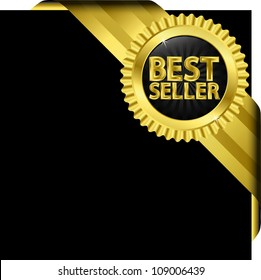 Best seller label with golden ribbons, vector illustration