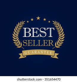 Best seller logotype with palms. Isolated vector gold colored emblem. Luxury congratulating template framed in palms, celebrates. Celebrating decorative traditional greetings with branches, stars.