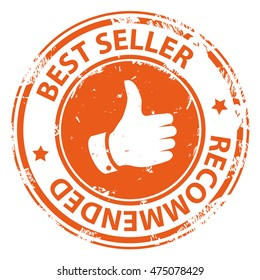 Best Seller recommended round rubber stamp with thumb up symbol icon isolated on white background. Vector illustration