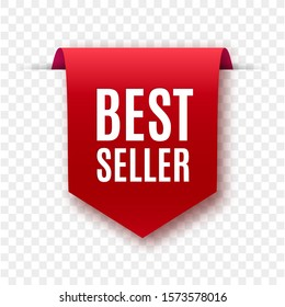Best seller red ribbon isolated. Vector 3d labels.