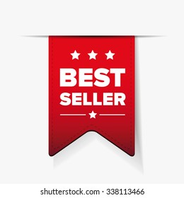 Best Seller red ribbon vector