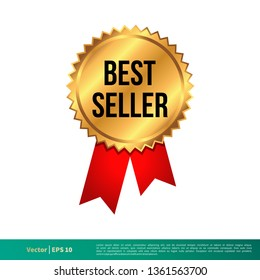 Best Seller Stamp, Seal Banner Vector Template Illustration Design. Vector EPS 10.