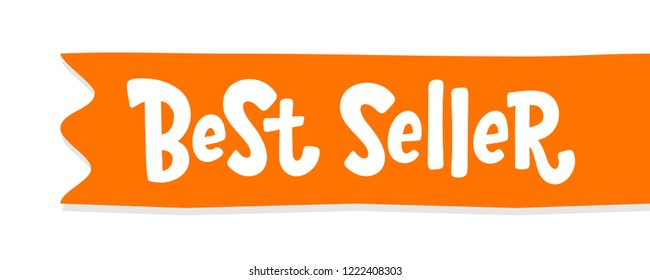 Best Seller text orange red horizontal ribbon label. Bestseller word. Design element for cover books, products pack. Hand drawn lettering symbol comic cartoon style for print. white background