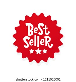Best Seller text red round label. Bestseller word. Design element for cover books, products pack. Hand drawn lettering best seller symbol comic cartoon style for print. Isolated on white background