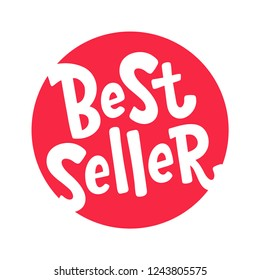 Best Seller text red round label. Design element for cover books, products pack. Bestseller word. Hand drawn lettering best seller symbol comic cartoon style for print. Isolated on white background