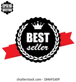Best seller warranty with red ribbon - vector.