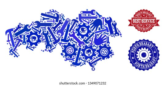 Best service collage of blue mosaic map of North Brabant Province and rubber seals. Mosaic map of North Brabant Province constructed with gearwheels,cogwheels, spanners, hands.
