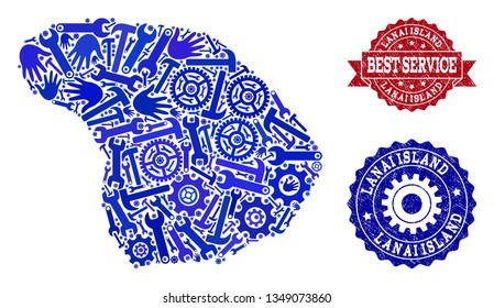 Best service collage of blue mosaic map of Lanai Island and scratched stamps. Mosaic map of Lanai Island designed with cogs, wrenches, hands. Vector imprints with corroded rubber texture.