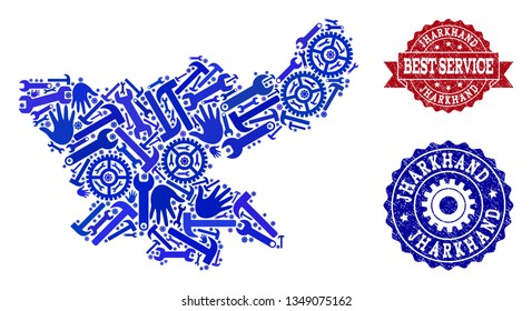 Best service collage of blue mosaic map of Jharkhand State and rubber seals. Mosaic map of Jharkhand State constructed with gearwheels,cogwheels, wrenches, hands.