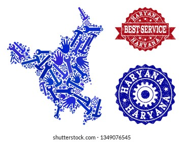 Best service collage of blue mosaic map of Haryana State and rubber seals. Mosaic map of Haryana State designed with gearwheels,cogwheels, wrenches, hands.