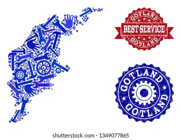 Best service combination of blue mosaic map of Gotland Island and rubber seals. Mosaic map of Gotland Island constructed with gears, spanners, hands. Vector watermarks with distress rubber texture.