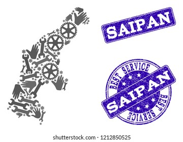 Best service combination of mosaic map of Saipan Island and blue rubber seals. Mosaic map of Saipan Island designed with gray gears and wrenches. Vector blue seals with distress rubber texture.