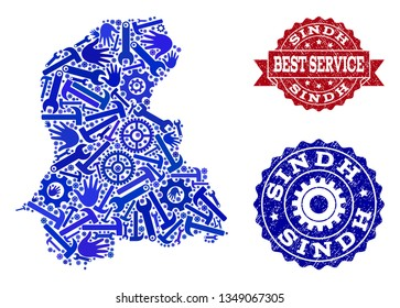 Best service composition of blue mosaic map of Sindh Province and rubber seals. Mosaic map of Sindh Province designed with gears, wrenches, hands. Vector imprints with scratched rubber texture.