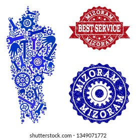Best service composition of blue mosaic map of Mizoram State and unclean stamps. Mosaic map of Mizoram State constructed with gears, wrenches, hands. Vector watermarks with unclean rubber texture.