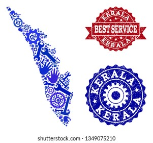 Best service composition of blue mosaic map of Kerala State and grunge seals. Mosaic map of Kerala State constructed with gearwheels,cogwheels, spanners, hands.