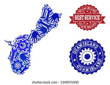 Best service composition of blue mosaic map of Guam Island and rubber stamps. Mosaic map of Guam Island designed with gearwheels,cogwheels, wrenches, hands.