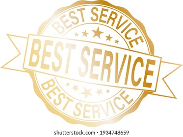 best service gold badge with red ribbon.