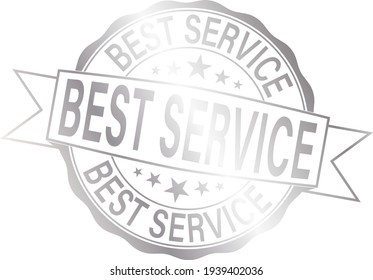 best service silver badge with red ribbon.