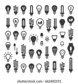 The best Set Light bulbs, Led lamps types, fluorescent, filament, halogen, diode and other illumination. Electric shop ideas.
