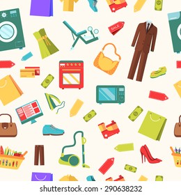 best shopping illustration concept. Template of icons seamless patern design. Many object purchased in the store. In flat sticker style