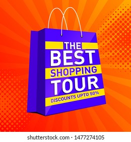 The Best Shopping Tour Banner, Logo design, Sticker, Concept, Card, Template, Icon, Poster, Unit, Label, Web Header, Mnemonic with text on top of shopping bag and festive rays orange background.