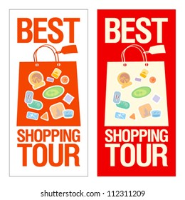 Best shopping tour banner with paper bags.