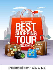 Best shopping tour design concept, big red paper bag, suitcases and camera, city skyscrapers on a backdrop, shopping tourism concept