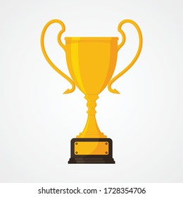 Best simple championship or competition trophy isolated white background. Gold cup trophy icon symbol in flat style. Vector illustration EPS.8 EPS.10