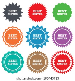Best sister sign icon. Award symbol. Stars stickers. Certificate emblem labels. Vector