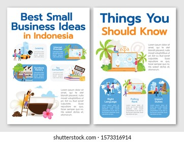 Best small business ideas in Indonesia brochure template. Flyer, booklet, leaflet print, cover design with linear illustrations. Vector page layouts for magazines, annual reports, advertising posters