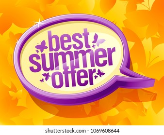 Best summer offer speech bubble banner design
