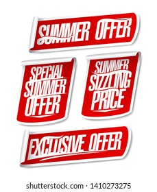 Best summer offers sale stickers set. Special, exclusive and sizzling offers signs collection