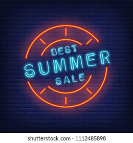 Best summer sale sign in neon style. Vector illustration with blue text in round frame and red stamp. Template for night bright banners, billboards, signboards