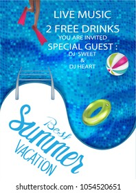 Best summer vacation banner with inflatable toys, legs in flippers and swimming pool. Vector illustration