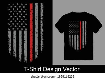 Best Thin red line firefighter flag vector T-Shirt Design