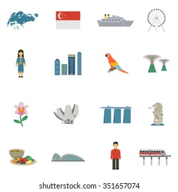 Best tourists attractions in singapore and national cultural symbols flat icons set abstract vector isolated illustration