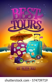 Best tours poster with big suitcases, hat, sunglasses, , compass and camera, against summer sunset beach  backdrop, summertime banner