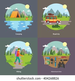 Best trips and camping for unforgettable journey 4 flat square icons composition banner abstract isolated vector illustration